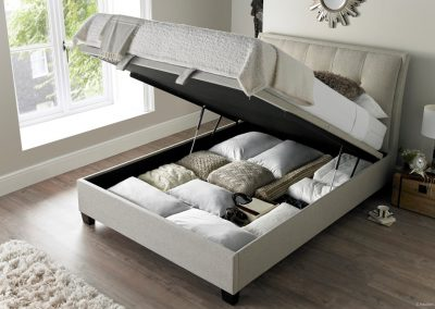 Accent Ottoman Bed, Oatmeal, Open