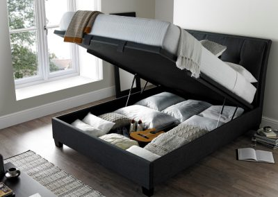 Accent Ottoman Bed, Slate, Open