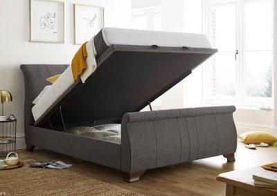 Bamburgh Ottoman Sleigh bed, Charcoal, Open