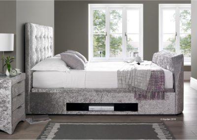 Barnard TV Ottoman Bed, Silver Crushed Velvet