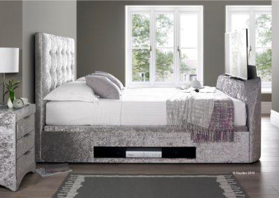 Barnard TV Ottoman Bed, TV showing, silver crushed velvet