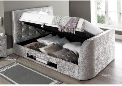Barnard TV Ottoman Bed, side lift open silver crushed velvet