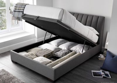 Lanchester Ottoman Bed, open, Artemis Elephant Grey