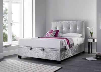 Walkworth Ottoman Bed, Silver Crushed Velvet