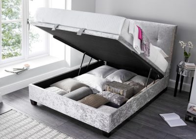 Walkworth Ottoman Bed, Silver Crushed Velvet, open